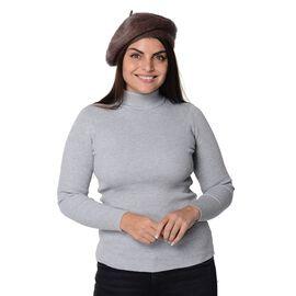 Solid Colour Winter Beret (Size 51 Cm) - Brown