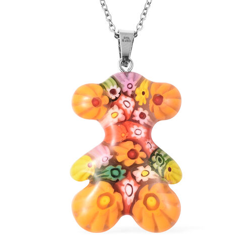 Orange Murano Style  Glass Teddy Pendant with Chain (Size 24) in Stainless Steel