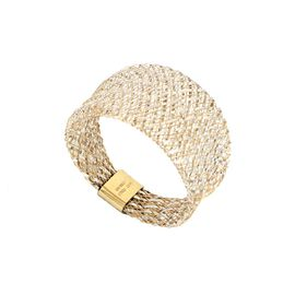 Super Find- Italian Made 9K Yellow Gold Domed Stretchable Ring (Size Large) (Size P to U)