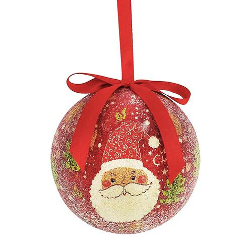 Set of 14 - Red and Multi Colour Santa Pattern Christmas Decoration Baubles in a Box (Size 21.5X15 Cm)