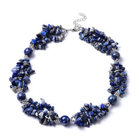 Lapis Lazuli Necklace (Size 18 with 2 inch Extender) in Silver Tone