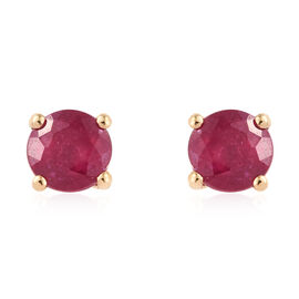 African Ruby (Rnd) Stud Earrings (with Push Back) in 14K Gold Overlay Sterling Silver 1.500 Ct.