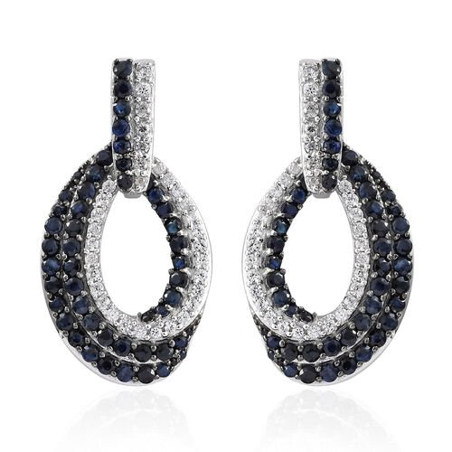 Kanchanaburi Blue Sapphire (Rnd), Narural Cambodian Zircon Earrings in Platinum Overlay Sterling Silver 6.000 Ct, Silver wt 9.64 Gms, Number of Gemstone 176.