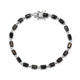 6.25 Ct Elite Shungite Tennis Bracelet in Platinum Plated Sterling Silver 9.04 Grams 7.5 Inch