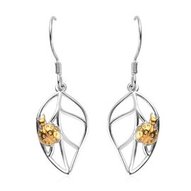 Platinum and Yellow Gold Overlay Sterling Silver Leaf Hook Earrings