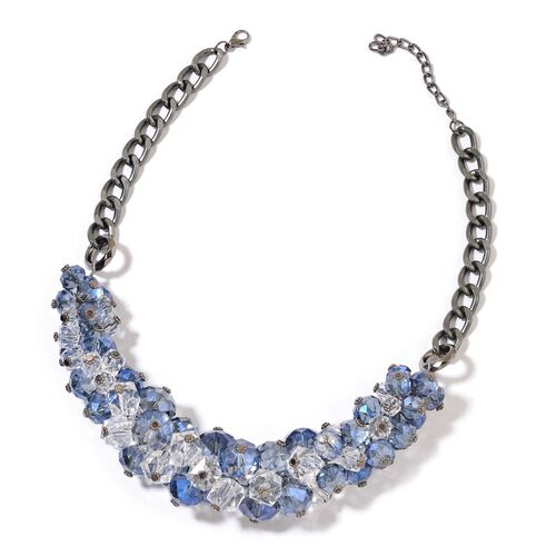 Simulated Tanzanite and Simulated White Diamond Necklace (Size 20 with 5 inch Extender) in Black Tone