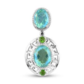 Peacock Triplet Quartz and Russian Diopside Pendant in Platinum Overlay Sterling Silver 5.20 Ct.