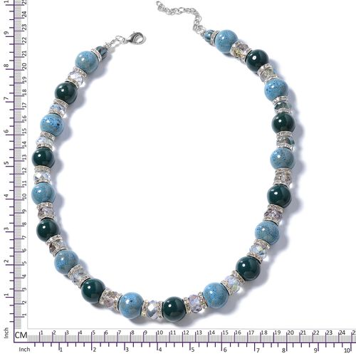 Simulated Magic Color Stone, Ceramic and  Austrian White Crystal Necklace (Size 25) in Silver Plated.