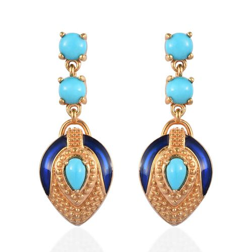 Arizona Sleeping Beauty Turquoise Enamelled Earrings (with Push Back) in 14K Gold Overlay Sterling S