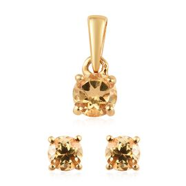 2 Piece Set - Citrine (Rnd) Stud Earrings (with Push Back) and Solitaire Pendant in 14K Gold Overlay