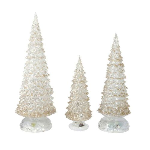 Christmas Decoration- 3 Piece Set Champagne Colour Crystal Tree with Colour Changing LED Lights