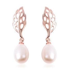 RACHEL GALLEY Freshwater White Pearl Lattice Feather Drop Earrings (with Push Back) in Rose Gold Ove