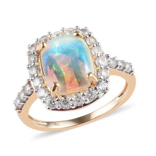 3 Carat AAA Ethiopian Welo Opal and White Zircon Halo Ring in 9K Yellow Gold 2.60 Grams