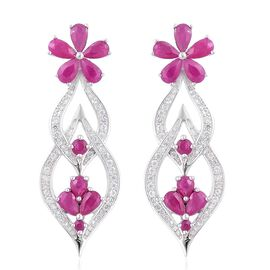 Burmese Ruby (Pear), Natural White Cambodian Zircon Flower Earrings (with Push Back) in Rhodium Plat