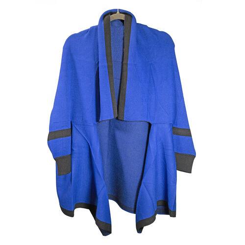 Kris Ana Coloured Border Cardigan One Size - Cobalt/Black