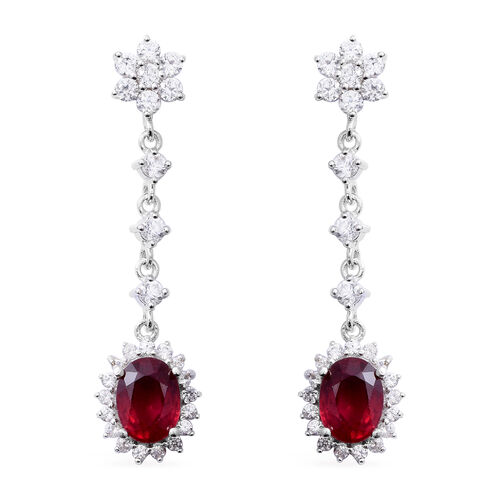 African Ruby (Ovl 3.40 Ct),Natural White Cambodian Zircon Earrings (with Push Back) in Rhodium Overl