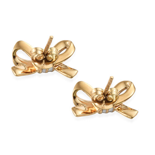 Designer Inspired-14K Gold Overlay Sterling Silver Bow Knot Earrings (with Push Back) with Enamelling