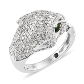 GP 1.27 Ct Diamond and Multi Gemstone Panther Ring in Platinum Plated Silver 5.49 Grams