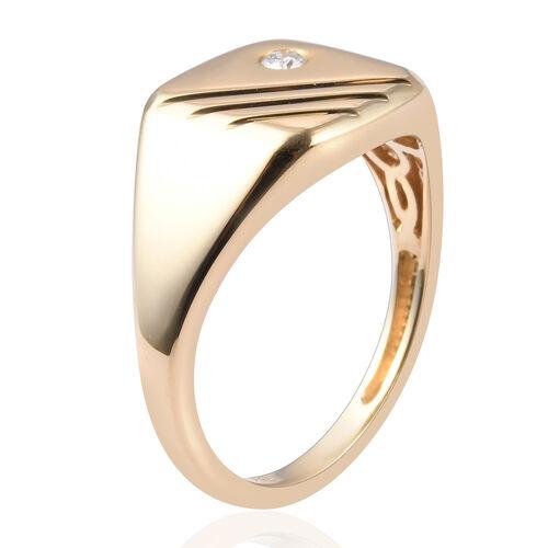 9K Yellow Gold SGL Certified Diamond (I1/G-H) Signet Ring
