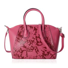 Fuchsia Colour Embossed Flower and Leaves Pattern Tote Bag with Removable Shoulder Strap (Size 33x27