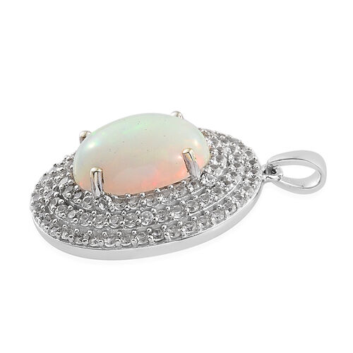 Limited Edition- Extremely Rare Ethiopian Welo Opal (Ovl 14x10 mm), Natural White Cambodian Zircon Pendant in Platinum Overlay Sterling Silver 5.500 Ct,