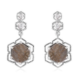 Meteorite and Natural Cambodian Zircon Floral Earrings (with Push Back) in Platinum Overlay Sterling