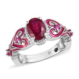 GP African Ruby (Ovl), Burmese Ruby and Blue Sapphire Ring in Platinum Overlay Sterling Silver 2.00