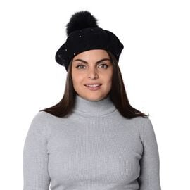 Winter Faux Fur Pompom Hat with beads (Size 52 Cm) - Black