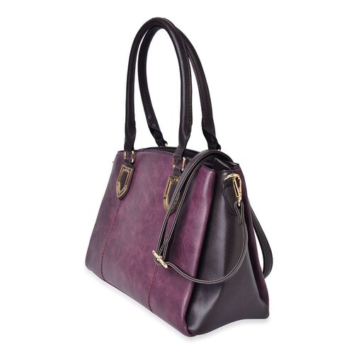 Timeless Collection Dark Purple Colour Tote Bag with External Zipper Pocket and Adjustable and Removable Shoulder Strap (Size 35.5X25.5X15.5 Cm)