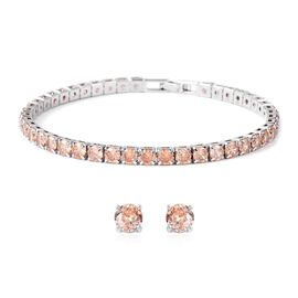 Easter Friday Mega Deal-2 Piece Set - Simulated Champagne Diamond (Rnd) Bracelet (Size 7.50) and Stud Earrings (with Push Back) in Silver Plated