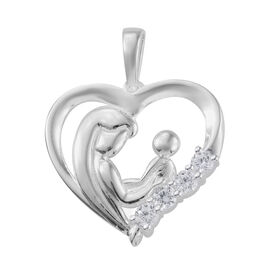 J Francis - Sterling Silver (Rnd) Mother and Child Pendant Made With SWAROVSKI ZIRCONIA