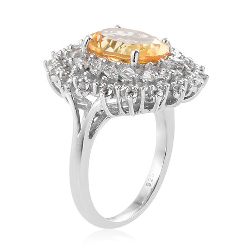 Brazilian Citrine (Ovl 11x9 mm, 3.250 Ct), White Topaz Floral Ring in Platinum Overlay Sterling Silver 4.750 Ct.