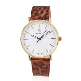 STRADA Japanese Movement Water Resistant Watch with Orange Colour Leopard Pattern Mesh Chain Strap