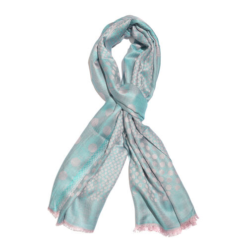 Blue and Light Pink Colour Polka Dots Pattern Reversible Jacquard Scarf with Fringes (Size 190X70 Cm