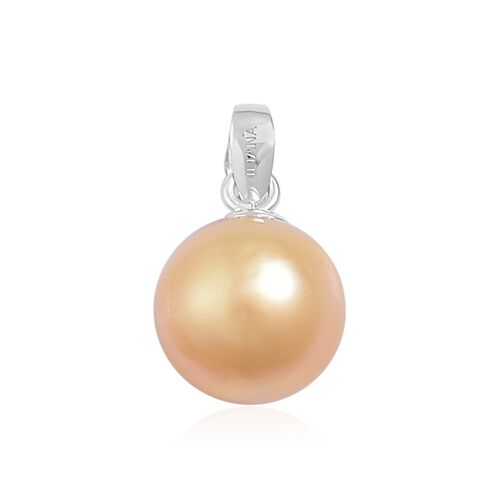 ILIANA AAA South Sea Golden Pearl (9-10mm) Pendant in 18K White Gold