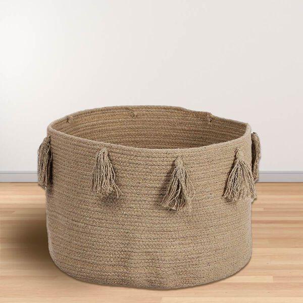 100% Cotton Braided Multipurpose Beige Basket With Tassels 45x45x30cm