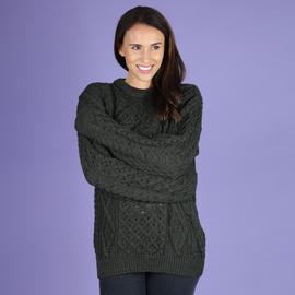 ARAN 100% Pure New Wool Irish Sweater (Size M) - Green