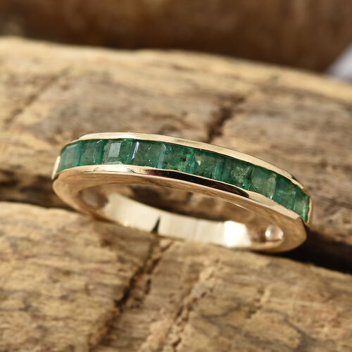 Limited Edition- Extremely Rare- 9K Yellow Gold AA Kagem Zambian Emerald (Princess Cut) Half Eternity  Ring  1.000 Ct.