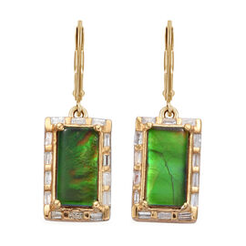 AA Canadian Ammolite (Bgt), Diamond Earrings in 14K Gold Overlay Sterling Silver 2.750  Ct.
