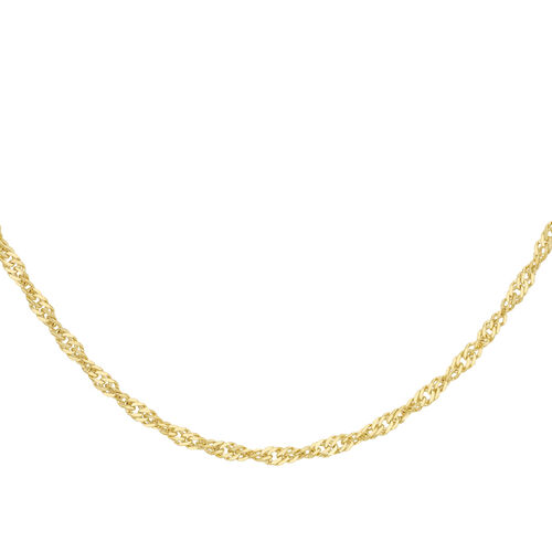 9K Yellow Gold Twisted Curb Chain (Size 18), Gold wt 3.40 Gms
