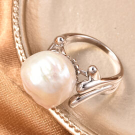 LucyQ -  Freshwater White Baroque Pearl Ring in Rhodium Overlay Sterling Silver