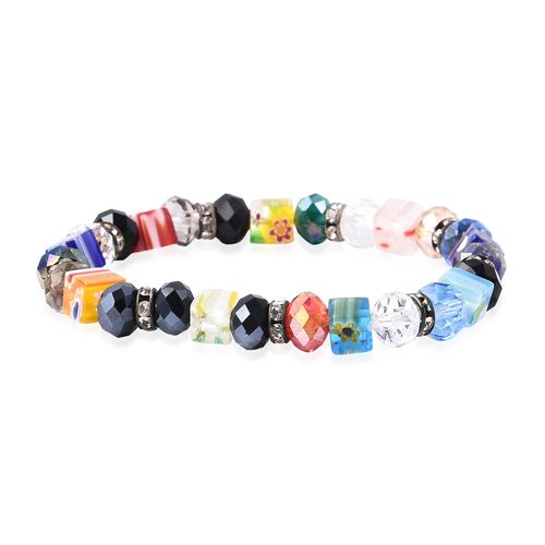 Simulated Multi Colour Gemstone, White Austrian Crystal and Multi Colour Murano Grass Stretchable Be