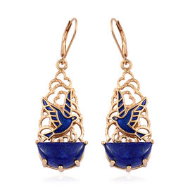 GP Lapis Lazuli, Kanchanaburi Blue Sapphire Bird Hoop Earrings in Enameled and 14K Gold Overlay Sterling Silver 12.250 Ct. Silver wt 10.00 Gms.