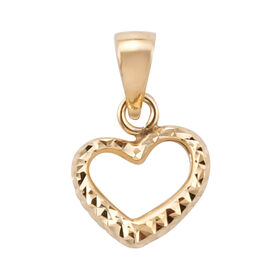 Royal Bali Collection 9K Yellow Gold Diamond Cut Heart Pendant