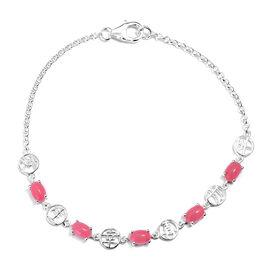 Pink Jade (Ovl) Bracelet (Size 7.5 Adjustable) in Sterling Silver 2.750  Ct.