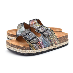 Heavenly Feet Flutter Womens Black and Multi-Coloured Sandals (Size 3)
