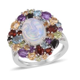 5.68 Ct Ethiopian Welo Opal and Multi Gemstone Halo Ring in Rhodium Plated Silver 6.01 Grams