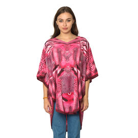 Pink Colour Digital Leopard Printed Kaftan One Size (90x75 Cm)