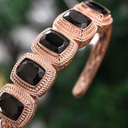 Elite Shungite (Cush) 5 Stone Hinged Bangle (Size 7.5) in Copper with Magnet (Size 7.5)  9.50 Ct.