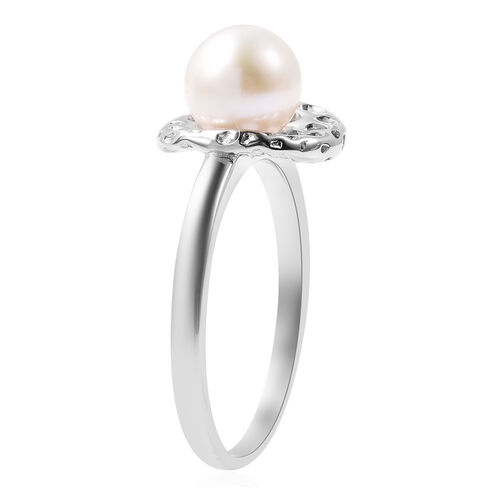 RACHEL GALLEY - Freshwater White Pearl Latticework Solitaire Ring in Rhodium Overlay Sterling Silver